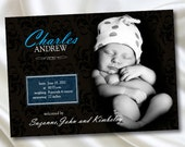 Baby Announcement Boy Birth Printable Customized Personalized Photo Baby Brown Blue Print Your Own DIY 10240