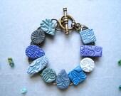 Bracelet Blue Handmade Clay Tiles