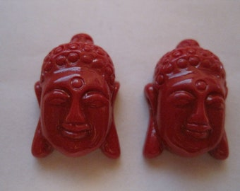 2 CHINESE RED Tibetan Buddha Beads