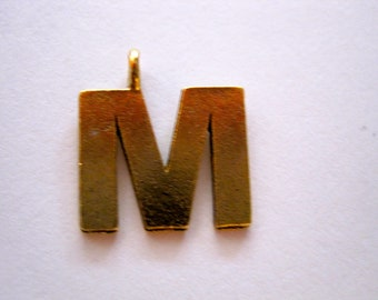 1 ANTIQUE GOLD INITIAL Pendant/Charm