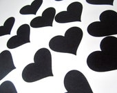 Black Hearts 1 3/4 inch wide black hearts dark love theme Halloween party divorce party over the hill party cupcake toppers heart confetti