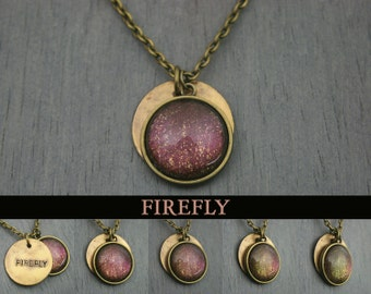 "Firefly ""Firefly"" Hand Stamped Color Shifting Antique Bronze Necklace"