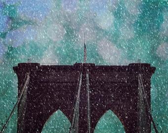 Snowy Brooklyn Bridge photograph - Snow in Brooklyn - 8x10 photograph - New York fine art print - winter photography - Brooklyn Bridge - NY