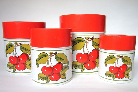Vintage HH Japan Tin Canister Set with Cherries, Red & White, Set of 4