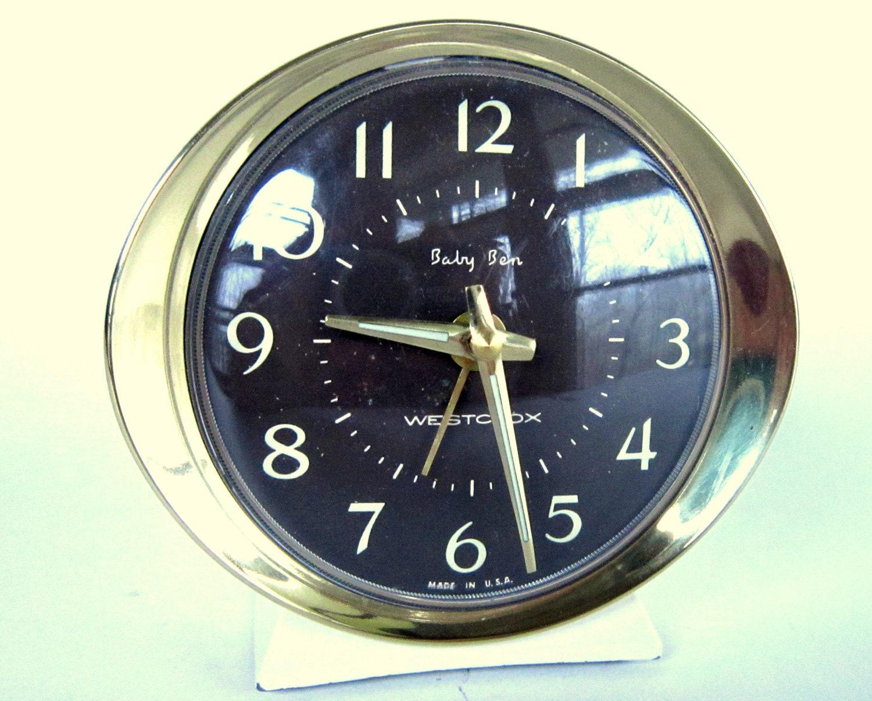 Vintage Westclox Baby Ben Alarm Clock Wind Up Travel Clock