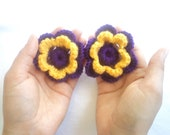 Crochet Flower Purple and Yellow, handmade flower, Set of 2