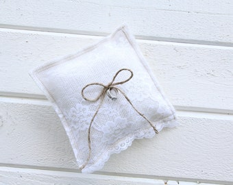 Burlap ring bearer pillow -Wedding pillow -burlap and lace pillow