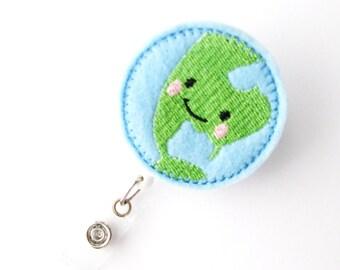 Mother Earth - Name Badge Holders - Cute Badge Reels - Unique Retractable ID Badge Holder - Felt Badge Reel - RN Badge - BadgeBlooms