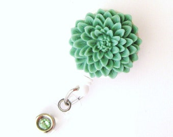 Sage Bisque - Flower ID Badge Holder - Flower Badge Reels - Designer ID Reel - Nurse Gifts - Pretty Name Badge Clips - BadgeBlooms