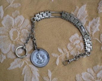 Antique Watch or Muff Chain With Queen Victoria Diamond Jubilee Medal - Late 1890s British Victorian - Book Chain