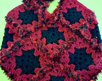 large granny square purse black and red teens women punk goth