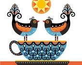 Tea Twirl Greetings Card