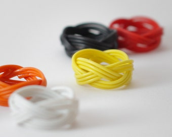 POWER RING - brightly coloured ring made of upcycled cable wire ring, white, blue, friendship ring