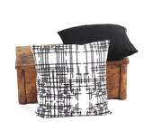Set of 2 Cushion Covers 16 x 16 inches - Black ,Black/White - Decorative Throw Pillows - Designer Fabric
