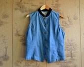 Vintage Sleeveless Denim Shirt / Jean Blouse with Velvet Collar / size medium large