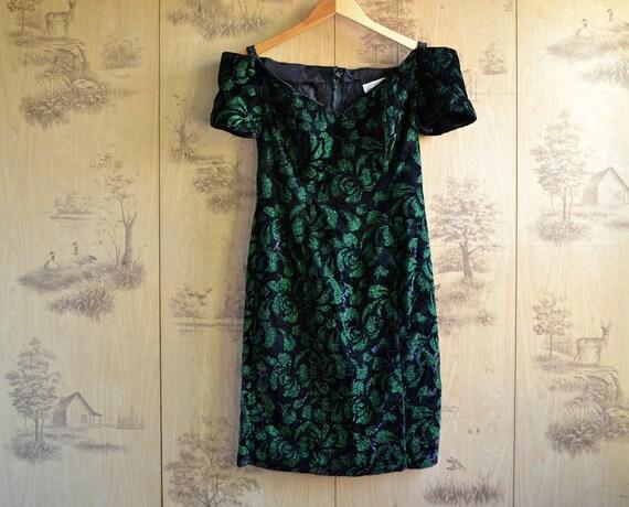 Vintage 80s Glitter Party Dress / Off the shoulder velvet dress / size medium 11/12