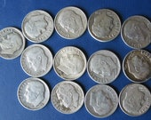 Baker's dozen of 1964 or earlier, AVG. circulated to VF, Roosevelt dimes, junk silver, doomsday prep, hoarder's lot, vestiesteam
