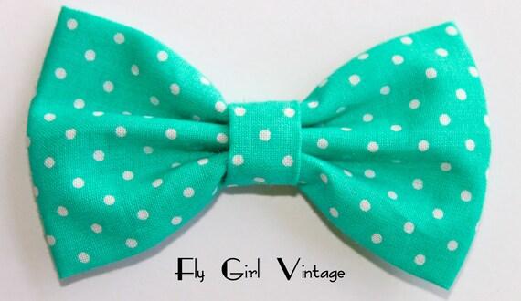 Vintage 1940's-Style-Hair-Bow-Clip- Aqua- Blue-Green-Polka-Dot- Fabric-Rockabilly-Pin Up-1950's-Mod- For Women, Teens, Girls, Baby, Kids