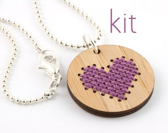 DIY Embroidered Bamboo Pendant with Purple Heart - Cross Stitch Kit