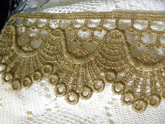 "Gorgeous Vintage Victorian French  Metallic Antique Gold Lace Trim 3"" Wide 1 Yard"