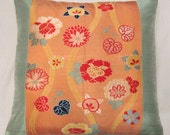 "Vintage silk Japanese Obi 18"" sq pillow cover - Coral and mint green accent designer pillow OOAK"