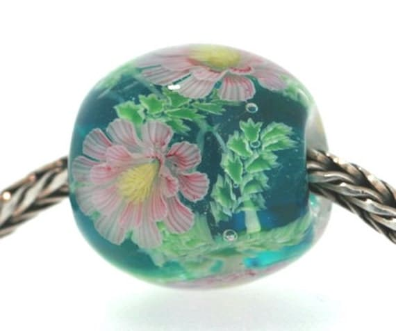 "Handmade Lampwork Glass Focal bead Huge Fit Trollbeads European Charm only  ""Pink Daisy"" By Shirley"