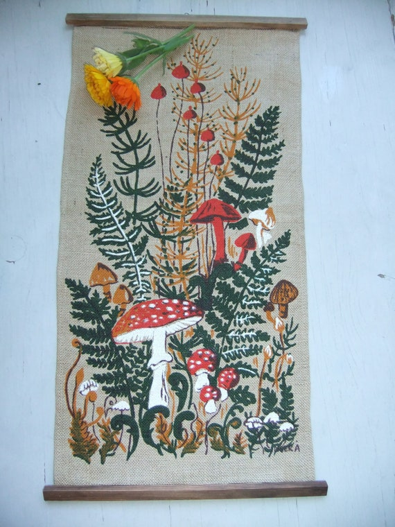 Vintage Swedish Autum wall hanging in jute with mushrooms