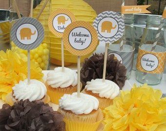 baby shower decorations elephant mu stard yellow gray party package
