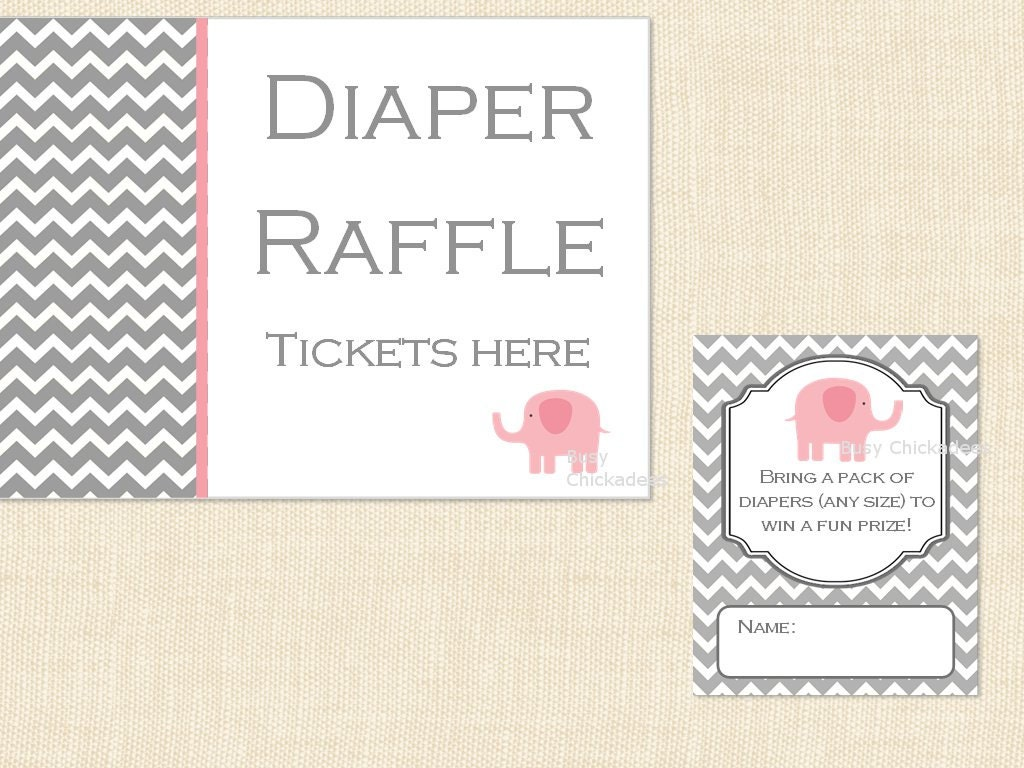 pink diaper raffle ticket baby shower invitation by busychickadees