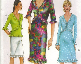 Vogue Sewing Pattern 7256 - Misses' Dress, Top & Skirt (8-12)