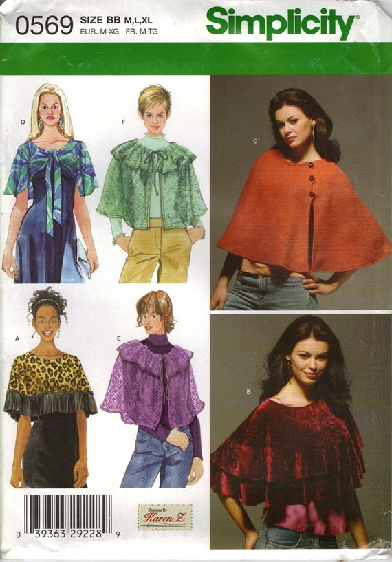 Simplicity Sewing Pattern 0569 (aka 4492) - Misses' Capelets (M-XL)
