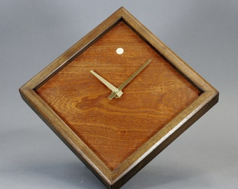 Figured Mahogany Veneer And Walnut Wood Wall Clock 10 inch Square