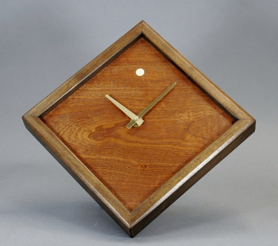 Figured Mahogany Veneer And Walnut Wood Wall Clock 10 inch Square