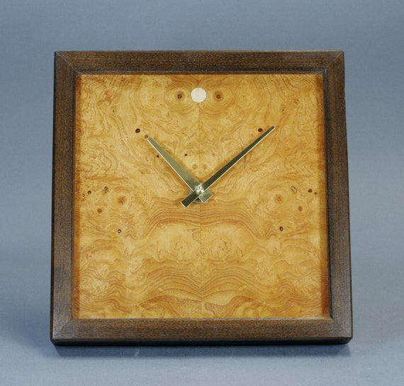 Ash Burl Veneer And Walnut Wood Wall / Mantle Clock 10 Inches Square