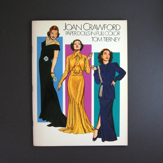 Joan Crawford Paper Dolls - Tom Tierney -  Illustrated Fashion Vintage Large Softcover Illustrated Book