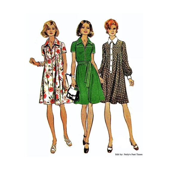 Simplicity 6216, Vintage 1970s Dress Pattern, Size 22.5 -  24.5, Bust 45, Long or Short Sleeves, Cute Tent Dress Pattern.