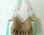 Coffee Bag Burlap Shoulder Strap with metal Rings -Aqua Stripes and Green Polka Dots