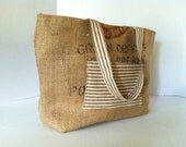 "Coffee Bag Burlap Tote (Large) ""Green Coffee 100% Organic"" East Timor with Brown Ticking and  Teal Ikat"