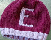KNIT hat - monogram initial - baby child - You Choose the Size and color