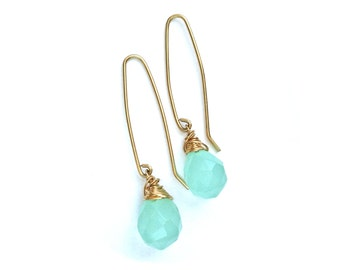 Long Wire Aqua Quartz Drop of the Rainbow Earrings in 18 K Gold Overlay