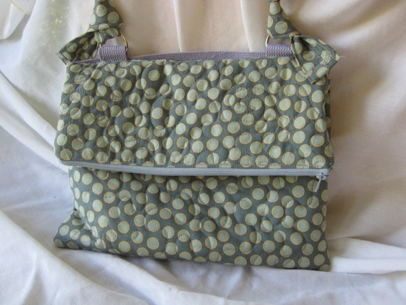 Handmade quilted envelope purse, grey fold over bag with zipper closure, removable straps and cotton web handle