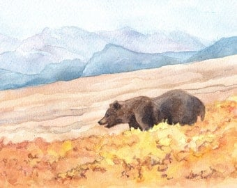 Grizzy Bear in Yellowstone National Park Painting Reproduction  by Wanda's Watercolor's