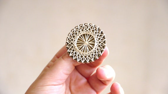 White Geometric Brooch - embroidery thread