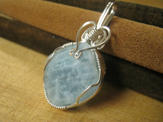 Blue Aquamarine Pendant Necklace, Faceted Aquamarine, Wire Wrapped Heart Jewelry, Throat Chakra Pendant, READY To SHIP