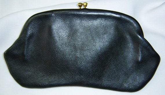 Black Top Grain Leather clutch purse 60s