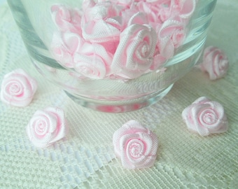 Pink Rose Ribbon , Sweet pink bow, pink rose, 50 pcs. rose applique, fabric rose, ribbon, fabric bow, wedding, party, gift for her, party