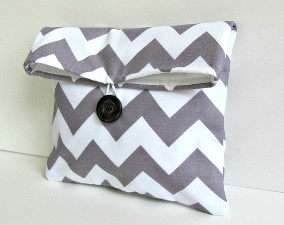 Bridesmaid Clutch Purse / Bridesmaid Gift Cosmetic Makeup Bag Grey Chevron Gift for Her / Wedding Accessories