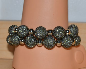 2 Two Strand 14mm Gray Grey Pave Crystal Disco Ball Bead Bracelet with 8mm Silver Plated Beads - 1409B