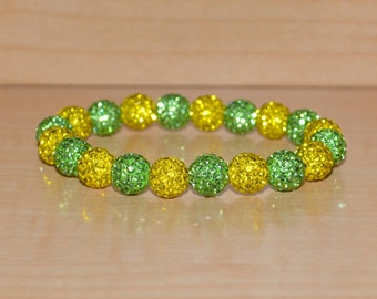 10mm Golden Yellow and Lime Green Pave Crystal Disco Ball Bead Stretch Bracelet - 1020B