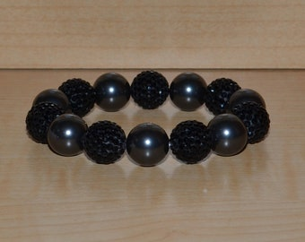 14mm Black Pave Crystal Ball Bead and Swarovski Pearl Stretch Bracelet - 1414B - SW8
